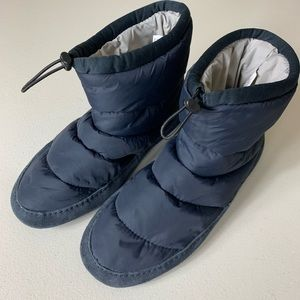 Lands End Navy Blue Puff Ankle Booties Boots